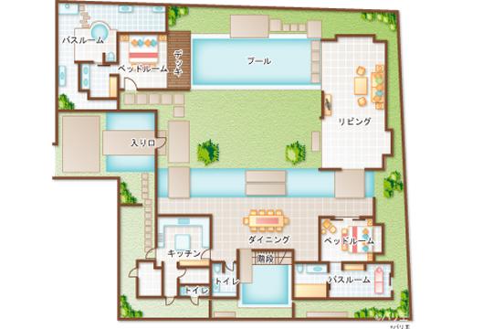 ヴィラ アイルバリ ブティック リゾート グランドヴィラ1階